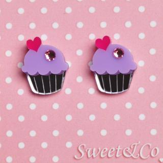 Mini Purple Cupcake Crystals Stud Earrings