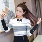 Bow Striped Knit Top
