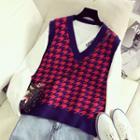 V-neck Houndstooth Knit Vest