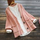Cross Embroidered Ribbed Cardigan