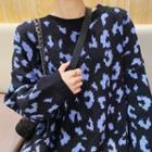 Leopard Print Sweater Black - One Size