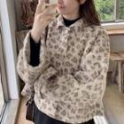 Leopard Patterned Buttoned Jacket
