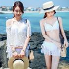 Set: Lace Panel Bikini + Cover