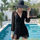 Mesh Panel Long-sleeve Swim Dress