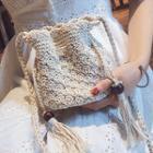 Tasseled Woven Bucket Bag White - One Size