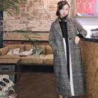 One-button Houndstooth Long Coat