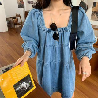 Puff-sleeve Denim A-line Dress As Shown In Figure - One Size