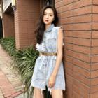 Denim Sleeveless Playsuit With Belt