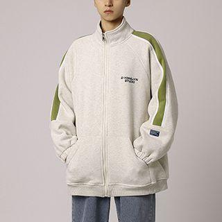 Stand-collar Two-tone Panel Zip-up Jacket