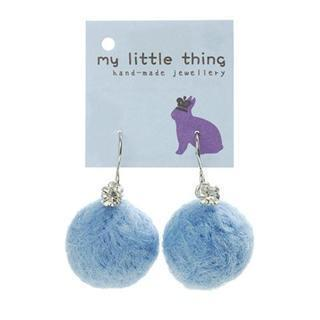 Blue Felt Ball Ball Stone Earrings