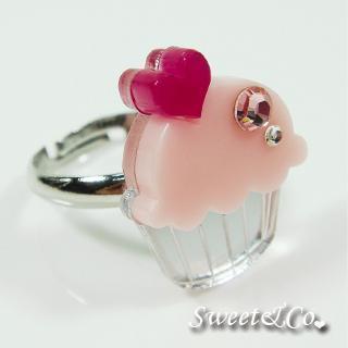 Mini Pink Cupcake Crystal Silver Ring