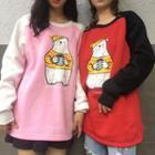 Printed Color Block Pullover
