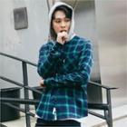 Check-pattern Hoodie Shirt