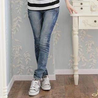 Zip-pocket Washed Skinny Jeans