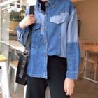 Color-block Loose-fit Washed Denim Jacket