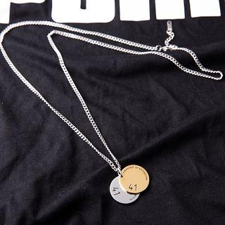 Stainless Steel Disc Pendant Necklace As Shown In Figure - One Size