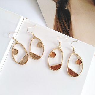 Wooden Irregular Alloy Dangle Earring