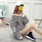 Applique Stripe Hooded Pullover