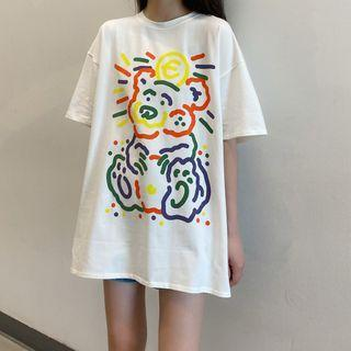 Bear Printed Short-sleeve Long T-shirt Off-white - One Size