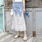 Crochet-panel Long Denim Skirt