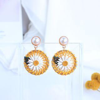 Faux Pearl Woven Daisy Dangle Earring