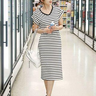 Striped T-shirt Dress Stripe - One Size