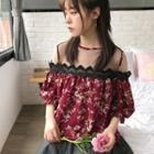 Floral Print Mesh Panel Short-sleeve Chiffon Top