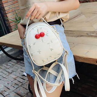 Embroidered Cherry Accent Mini Backpack