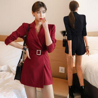 Collared Long-sleeve Playsuit