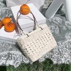 Woven Drawstring Handbag Beige - One Size