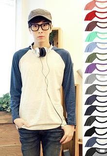Raglan-sleeve Color-block T-shirt