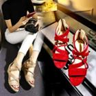 Faux-suede Cross-strap Wedge Sandals