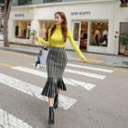 Striped Knit Midi Mermaid Skirt