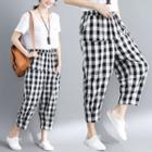 Gingham Cropped Harem Pants