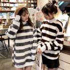 Mock Turtleneck Striped Pullover