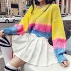 Cable Knit Long-sleeve Color Block Sweater Multicolor - One Size
