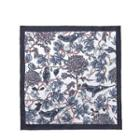 Floral Print Silk Pocket Square Blue & White - One Size