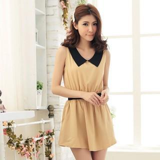 Elastic-waist Sleeveless A-line Dress