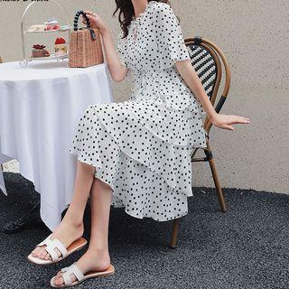 Dotted Short-sleeve Layered Dress