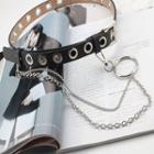 Faux Leather Belt With Chain Black - One Size