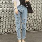 Cropped Harem Ripped Jeans