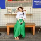 Banded-waist Shirred Maxi Skirt