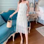Mesh Spaghetti Strap Layered Dress / Mesh Sleeveless Layered Dress