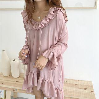 Frill-trim Mini Sweatshirt Dress Mauve Pink - One Size