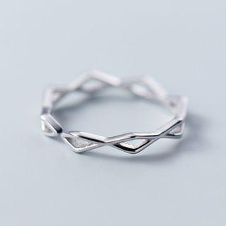 925 Sterling Silver Perforated Open Ring As Shown In Figure - One Size