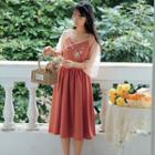 Floral Embroidered Frog Button Elbow-sleeve Dress