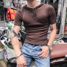 Short-sleeve Knit Hoodie