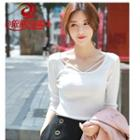 Plain Elbow-sleeve Knit Top / Plain Long-sleeve Knit Top