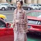 Plaid Shirt / Sleeveless Midi Dress