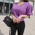 Puff-sleeve Cable-knit Top